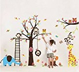 Colorfulworld Sticker mural XXXL pour chambre d'enfant Motif animaux de la jungle / Zoo Singe Girafe Éléphant & Hibou Idée ...