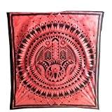 Couverture indienne Tenture Khamsa Main de Fatma Fatima Rouge Noir 230x210cm Coton Ameublement Décoration Textile Dessus-de-lit