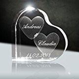 Cristal Je t'aime   3D Glas Cœurs 58 mm avec nom gravé au laser   Cadeau témoignage d'amour