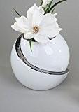 Cycle moderne Vase décoratif Vase en céramique Blanc/Argent Hauteur 15cm Blanc