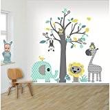 DecoDeco sticker mural Arbre Safari bleu. Ce sticker muraux en forme d'arbre est très coloré et esthétique avec plein d'animaux. ...