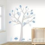 DecoDeco sticker mural Baby Arbre Woodland bleu. Ce sticker mural d'arbre avec des animaux mignons est colorée dans des tons ...