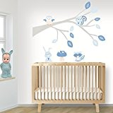 DecoDeco sticker mural Branche Woodland bleu, branche d'arbre aux couleurs douces avec des animaux mignons. Mur Etiquette, décoration muraux pour ...
