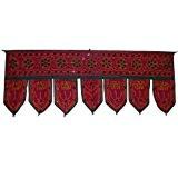 Décoration de porte CANTONNIÈRE INDIENNE bordeaux en coton avec 7 lamelles broderies tissu indien décoration intérieure Fabrication Artisanale