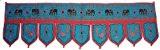 Décoration de porte CANTONNIÈRE INDIENNE turquoise en coton avec 9 lamelles broderies tissu indien décoration intérieure Fabrication Artisanale