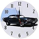 Décoration Maison Horloge MuraleStyleVintage Nostalgique en MDFScène Voiture RétroNoire Croisière
