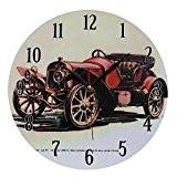 Décoration Maison Horloge MuraleStyleVintageNostalgique en MDFScène Voiture RétroRouge Décapotable