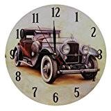 Décoration Maison Horloge MuraleStyleVintageNostalgique en MDFScène Voiture Rétro Brune