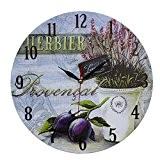 DécorationMaison StyleVintage Horloge Murale en MDF Scène Provencal et Prunes 34 cm