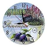 DécorationMaison StyleVintage Horloge Murale en MDF Scène Provencal et Prunes 28 cm