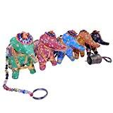 Décoration MOBILE Suspension en corde Éléphants en tissu avec perles et clochettes déco intérieure Fabrication Artisanale