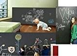 DuoFire (Noir,43x200cm) Autocollant Tableau Noir Mural / Auto-adhésif Blackboard Sticker pour L'école, Bureau, Accueil
