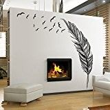 Ecloud Shop® créatif chambre des ménages canapé réglage plume de style Hot stickers muraux peuvent être enlevés