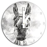 effet de charbon de bois drôle d'âne, horloge murale diamètre 30cm avec du blanc en tête les mains et le ...