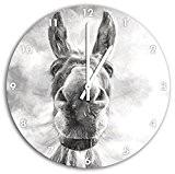 effet de charbon de bois drôle d'âne, horloge murale diamètre 48cm avec du blanc en tête les mains et le ...