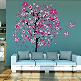 Elecmotive® Coeur arbre énorme papillon autocollants démontables de mur chambre salon mur sticker mural autocollant bricolage pour les enfants avec ...