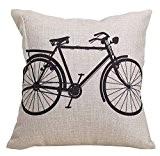 Elviros Coton Lin Blend Décoratif Housse de Coussin 45x45 cm [ 18x18'' ] - Vélo
