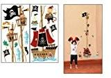 ENFANTS STICKERS MURAUX pirates HAUTEUR MESURE FICHE DE CROISSANCE AUTOCOLLANTS FILLES CHAMBRE DE MUR CHAMBRE DECOR Décoration Sticker Adhesif Mural ...