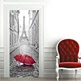 Extsud Sticker de Porte Parapluie Eiffel Sticker Porte Trompe l'oeil PVC Imperméable 77x200cm pour Chambre Salle de Bain Cuisine Décoration