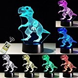 FARS 3D LED lampe de nuit, Colorful Dinosaure Forme Magical Illusion 3D Lampe, Chambre Décoration Meilleur cadeau, Touch Control Lumière ...