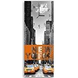 Feeby, Horloge Murale avec crochet, Multicolore, Tableau Horloge Déco Panel, 25x65 cm, VILLE, NEW YORK, ÉDIFICES, GRATTE-CIEL, ARCHITECTURE, RUE, VOITURES, ...