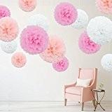 feelshion 15Pompoms Pompons Papier fleurs Kit pour mariage Babyparty gartenparty Wedding Déco de Chambre d'enfant