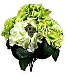 Fleur artificielle Bouquet Hortensia Vert Blanc 38 cm visuel et toucher comme du vrai