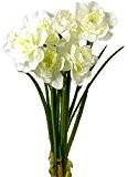 Fleur artificielle Bouquet jonquille Blanc 31 cm visuel et toucher comme du vrai