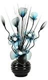 Flourish–723248–813Petit vase en turquoise/noir fleurs artificielles en nylon avec vase, décoration, maison Accessorie, 32cm, Bleu
