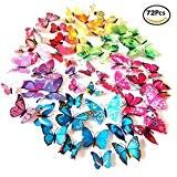 Foonii® 3D Papillons Papiers Décoration pour décoration de Maison et de Pièce, Stickers Muraux, 6 Couleurs, 72 Pièces (Rouge / ...