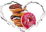 forme de coeur doux Donuts dans le regard 3D, mur ou une porte autocollant Format: 92x64.5cm, Stickers muraux, Stickers muraux, ...