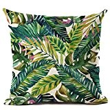 Gemini _ Mall 45,7x 45,7cm carré Couvre-lit Taie d'oreiller Home Decor Coton Housse de coussin en lin, Lin, Green and ...