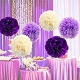 Goodlucky365 6 Pompon Papier de Soie Boule Fleur Tissu Artificielle Mariage Decoration, Blanc, Violet Clair, Violet Foncé