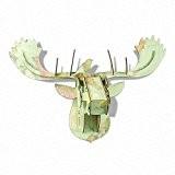 Grand en imitation tête élan I Carte du monde Imprimé I 3D en bois Sculpture murale I L63cm x w29cm ...