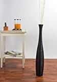 Grand Vase Décoratif 75 cm, Bois du manguier, Noir