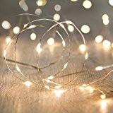 Guirlande Lumineuse à Piles avec 50 Micro LED Blanc Chaud sur Câble Argenté par Lights4fun