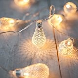 Guirlande Lumineuse LED à Piles avec 10 Larmes Argentés en Grillage