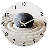 Hama 00136213 Horloge murale motif sable avec pierre, beige