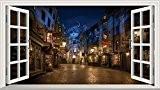 Harry Potter diagon Alley 3D Magic fenêtre v0101Sticker mural autocollant Art Poster Taille 1000mm x 600mm (L)