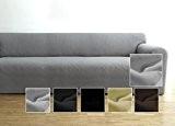 Housse de canapé Ambivelle, housse stretch biélastique, revêtement de canapé, pour de nombreux canapés 3 places courants, gris