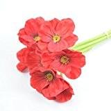Ineternet 10Pcs Artificiel Mini Real Touch Coquelicots Fleurs Bouquet Décoratif Pour la Décoration (Rouge)