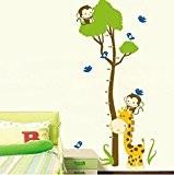 Jessie & Letty autocollant de la paroi démontable de la feuille de développement de la girafe singe Hauteur de tableau ...