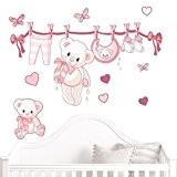 Juju & Compagnie - Stickers Muraux Enfant - Kit Complet de Decoration Murale JUJUBOX Oursons naissance Rose Dimensions Kit - ...