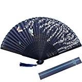 KAKOO Soie Pliant Ventilateur Bambou Côtes Japonais Style Sakura et Papillons Modèle Design Hand Held Fans Pour Danser le Mur ...