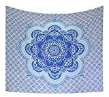 Kesrie blue lotus large wall hanging hippie tapestry mandala geometry indian ethnic print