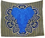Kesrie wall hanging mandala print large blue elephant in lotus boho décor tapestry
