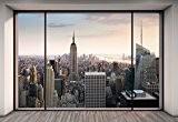 """Komar xxl4–916368x 248cm """"Penthouse Sticker trompe l oeil Papier peint"""" New York City Skyline Cityscape–Pastel (Lot de 4)"""