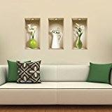 L'Nisha Art Magic vinyle 3D Autocollants mural amovible bricolage, Ensemble de 3, Verres et vases blancs