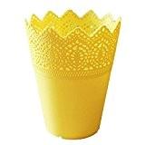 Leisial Solide Couleur Jaune Pot de Fleurs Vase à Plante Décoration de la Maison