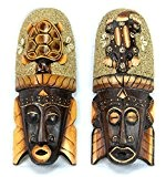 Lot de 2 masques Africains 30cm en bois décor Gecko Tortue sable et coquillages.